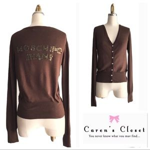 Moschino Jeans Brown Embellished Cardigan Sweater